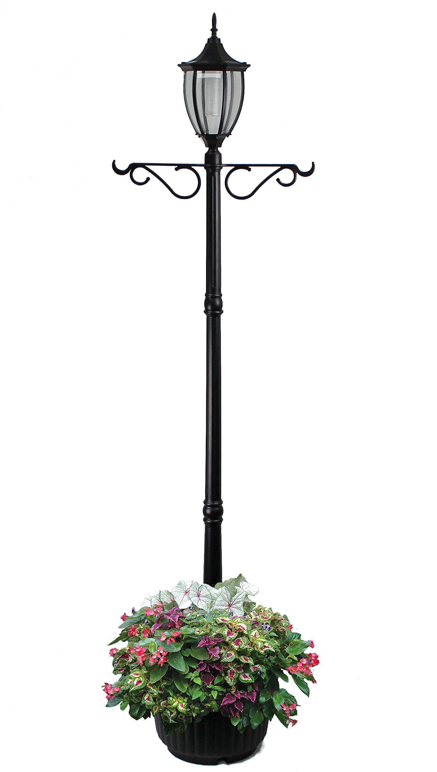 EdenBranch 312066 Sun-Ray Crest Mont Solar Lamp Post and Planter with Hanger, Black, Single Head