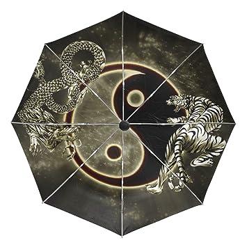 baihuishop dragón chino tigre Tai Bagua Yin Yang Blanco y Negro Resistente Al Viento Golf paraguas