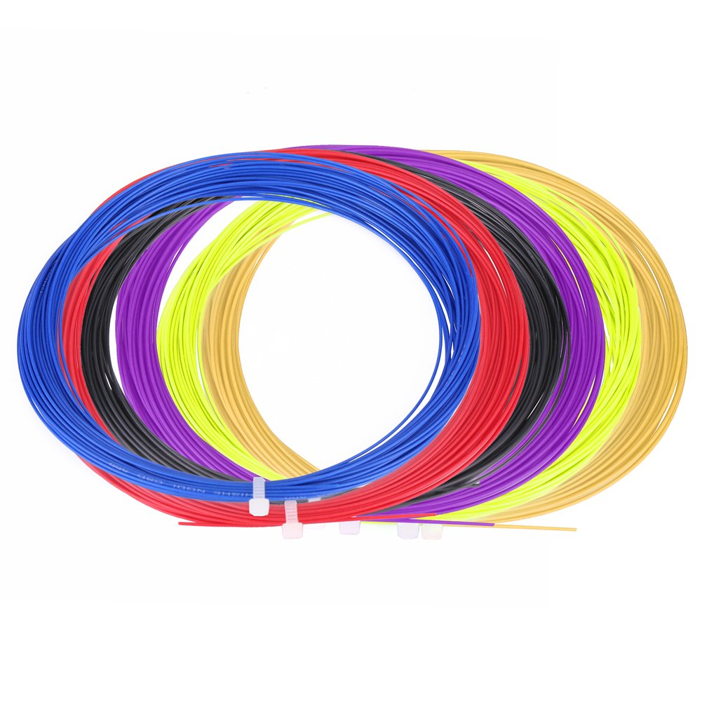 Tbest Juego de Cuerdas de bá dminton 2pcs, 10 m de Nylon Durable Bandas de Raqueta de bá dminton de Alta flexibilidad Lí nea de Cuerdas Gimnasio Accesorio de Entrenamiento Deportivo(Negro)