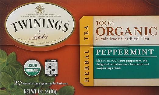 Twinings of London Bolsas de té de menta con certificado ...