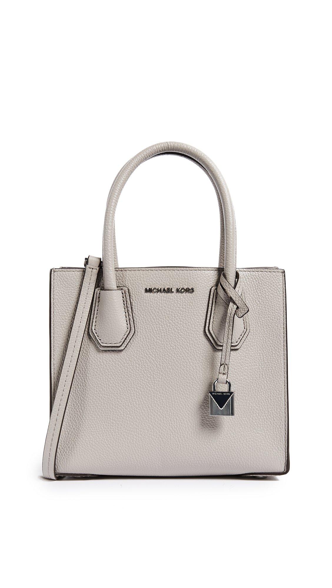 MICHAEL Michael Kors Women's Medium Mercer Messenger Bag, Pearl Grey, One Size