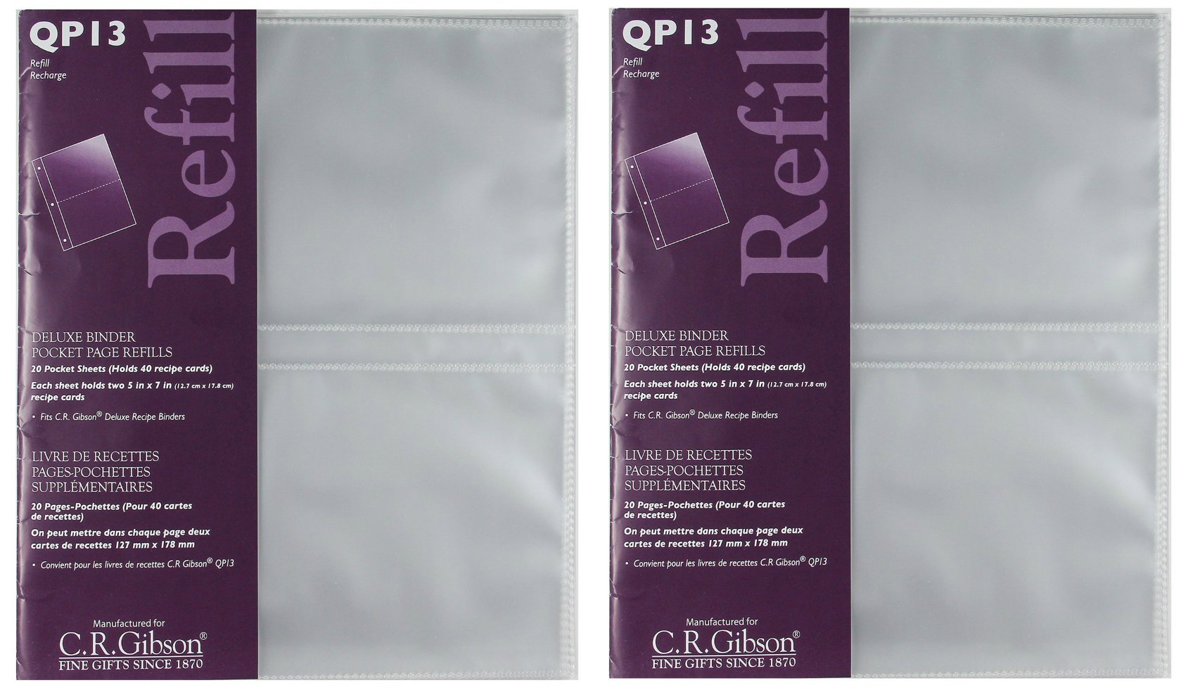 CR Gibson QP-13 Deluxe Binder pocket page refills, 20 pocket sheet (holds 40 recipe cards)(2 pack)