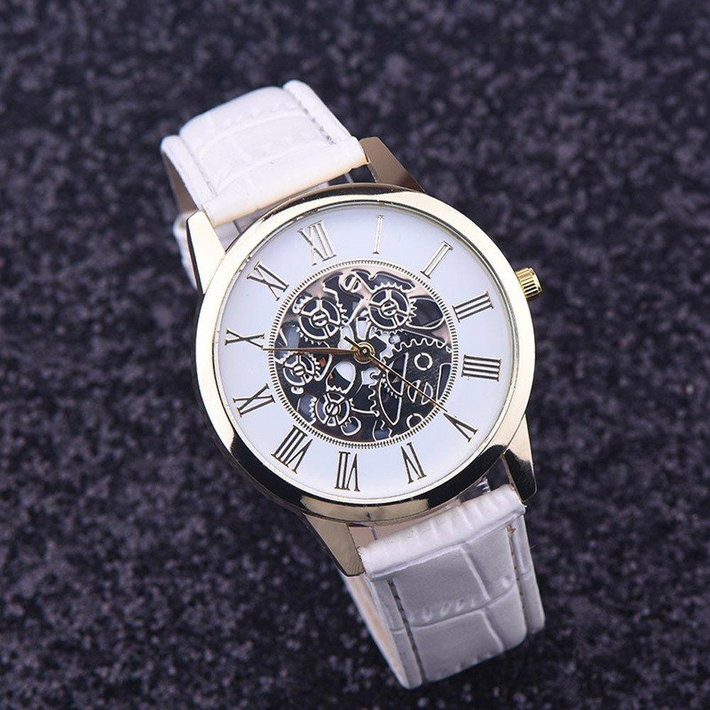 JiaMeng Reloj de Casual, Reloj de Pulsera de Cuarzo con Esfera analógica de Cuero Digital de Roma (Blanco): Amazon.es: Ropa y accesorios
