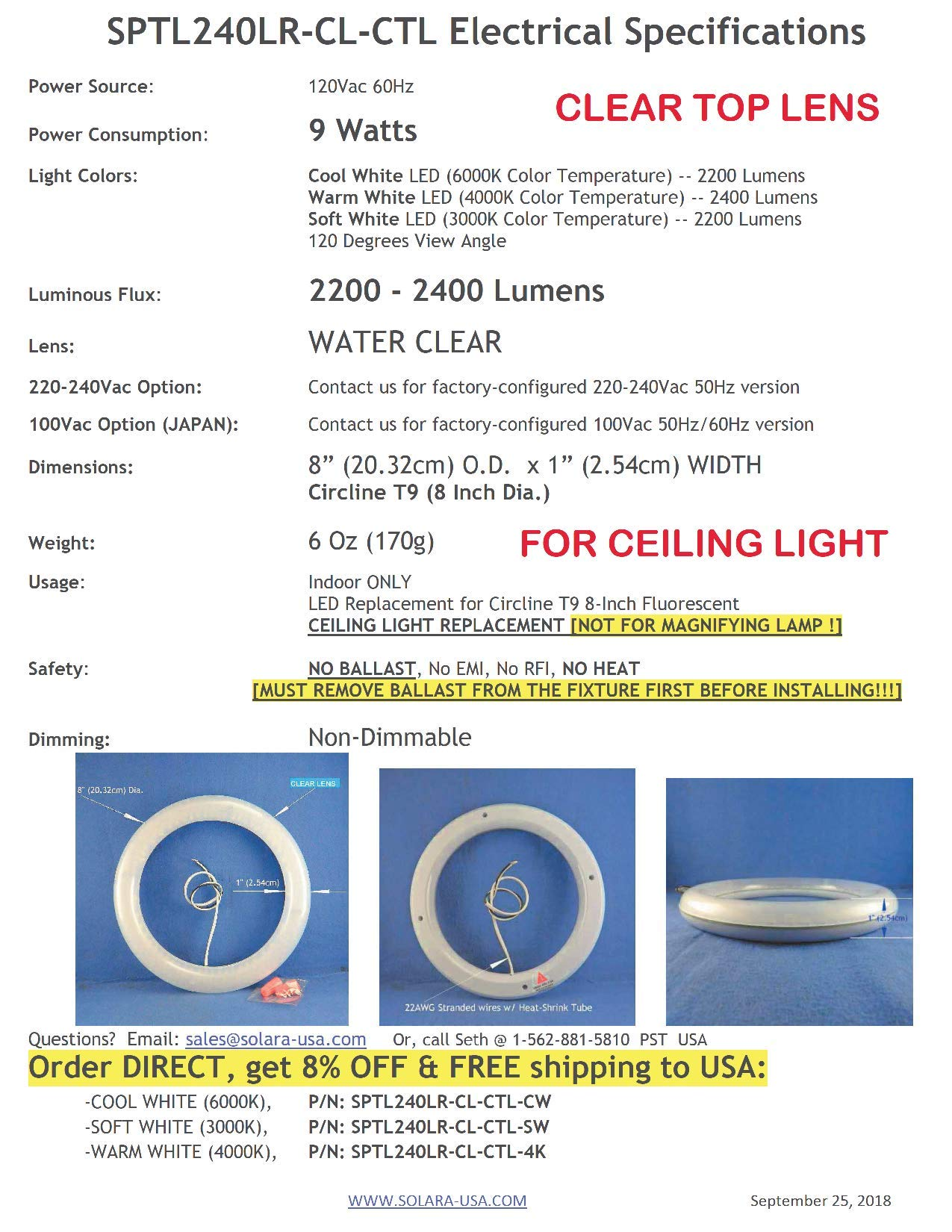SOLARA-USA Our Brightest LED Circline T9 Lamp (8-inch) for Ceiling Fan Light & Ceiling Light Fixture- 120Vac 9Watts 2000Lumens - Non-DIMMABLE. (for Ceiling - Clear TOP Lens - Cool White [6000K]) by SOLARA-USA (Image #9)