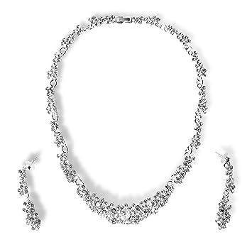 22d8f10b961d StillCool Collar Pendientes Fiesta Aretes para Mujer Diamantes de Imitación  Boda Nupcial Joyas Set  Amazon.es  Juguetes y juegos
