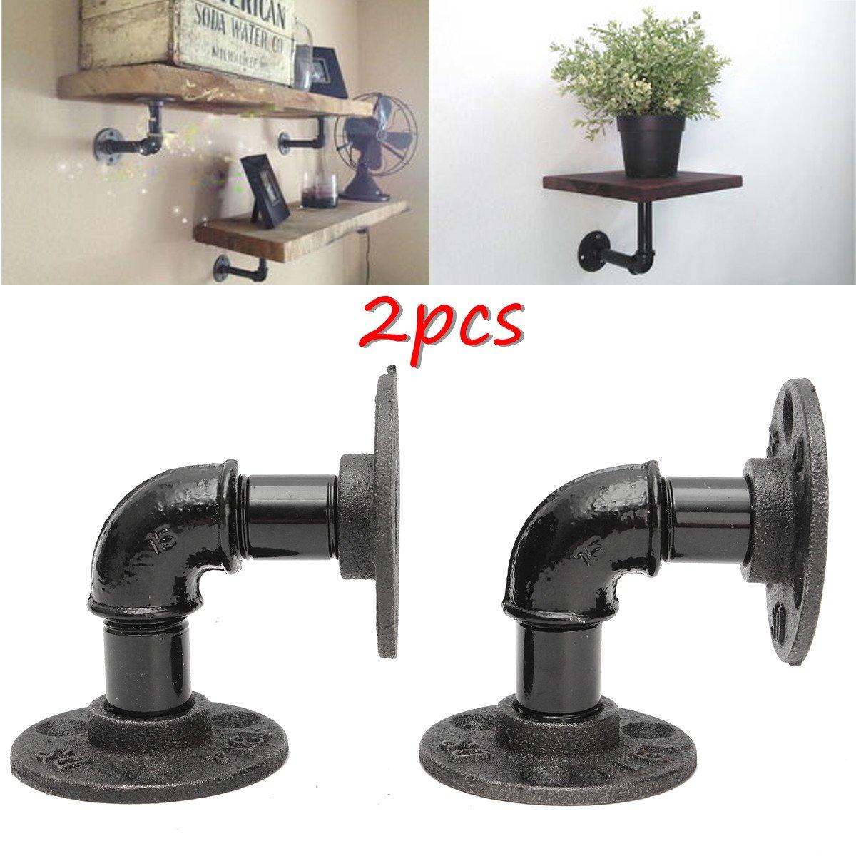 kingso 2pcs 8x8cm industrial black iron pipe shelf bracket wall mounted floating ebay. Black Bedroom Furniture Sets. Home Design Ideas