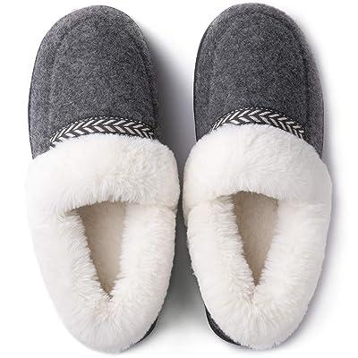 ULTRAIDEAS Women's Cozy Memory Foam Slippers with Fur Collar, Fleece Lining & Anti-Skid Rubber Sole | Slippers