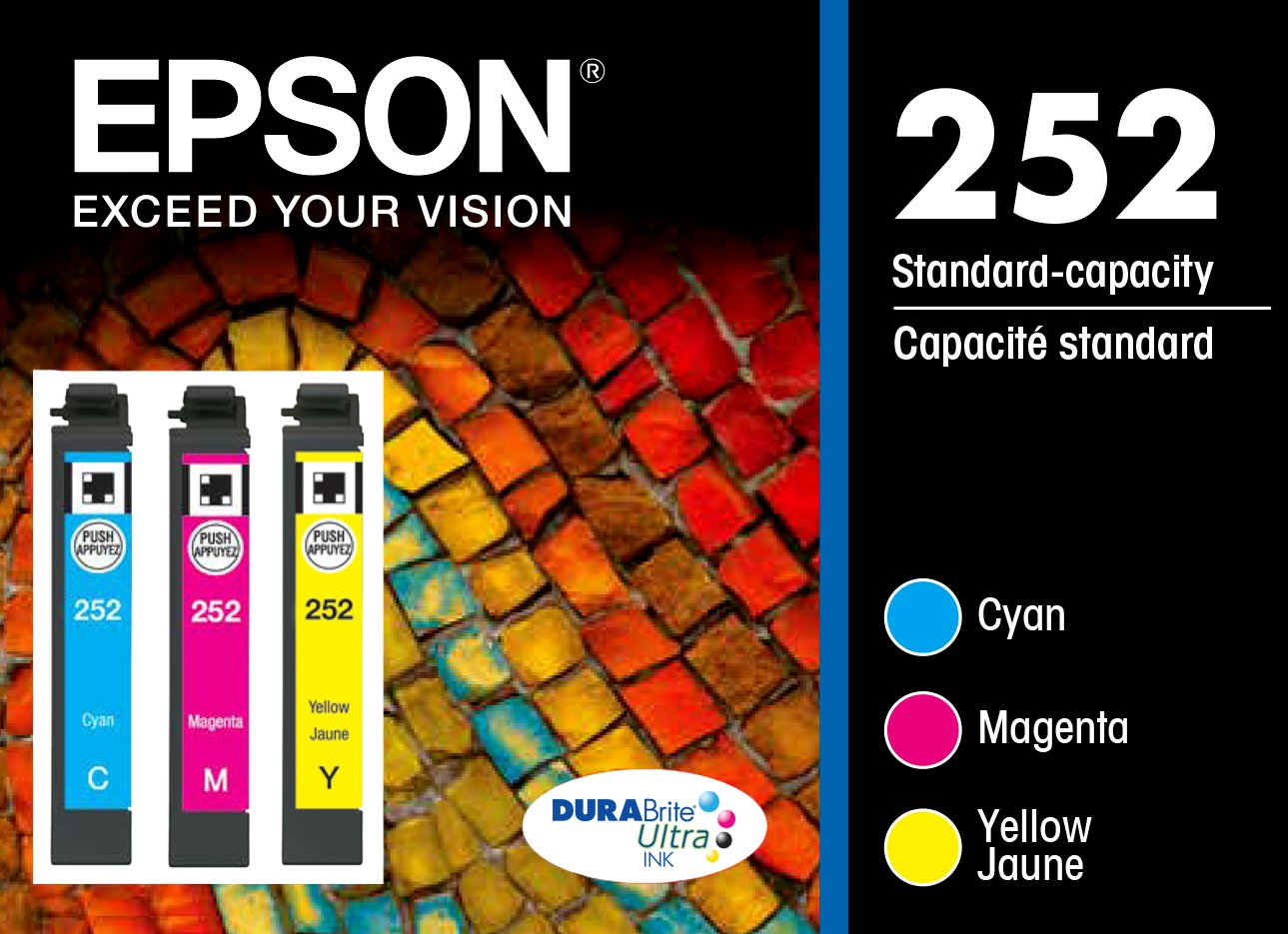 Epson T252520 DURABrite Ultra Color Multi-Pack Ink Cartridges Standard-Capacity (CMY) - Frustration Free Packaging Ink