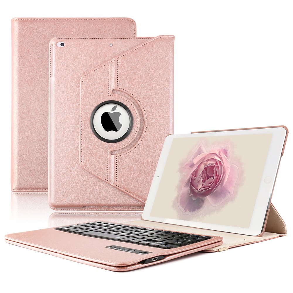 KVAGO Keyboard Case for New 2018/2017 iPad 9.7 inch, iPad Air -Stylish 360 Degree Rotating Case with Detachable Wireless Bluetooth Keyboard for iPad 6th Gen,iPad 5th Gen, Air 1 -Rose Gold