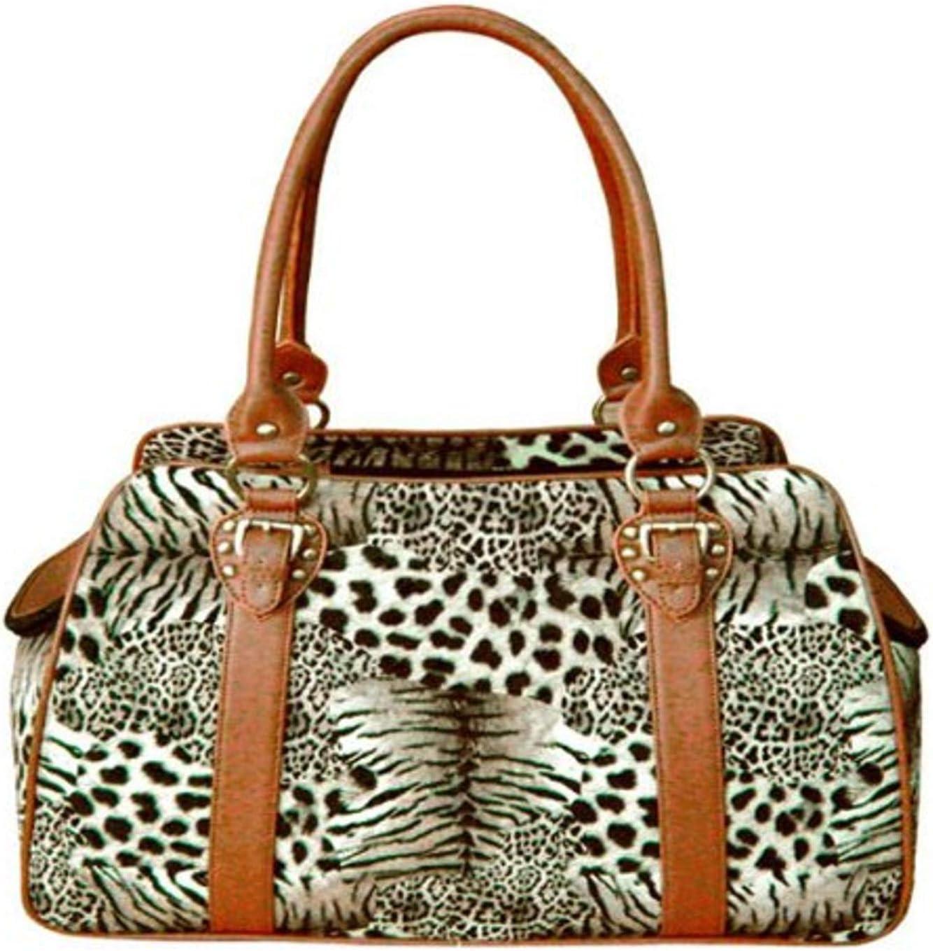 Leopard Backbone Faux Leather Pet Carrier