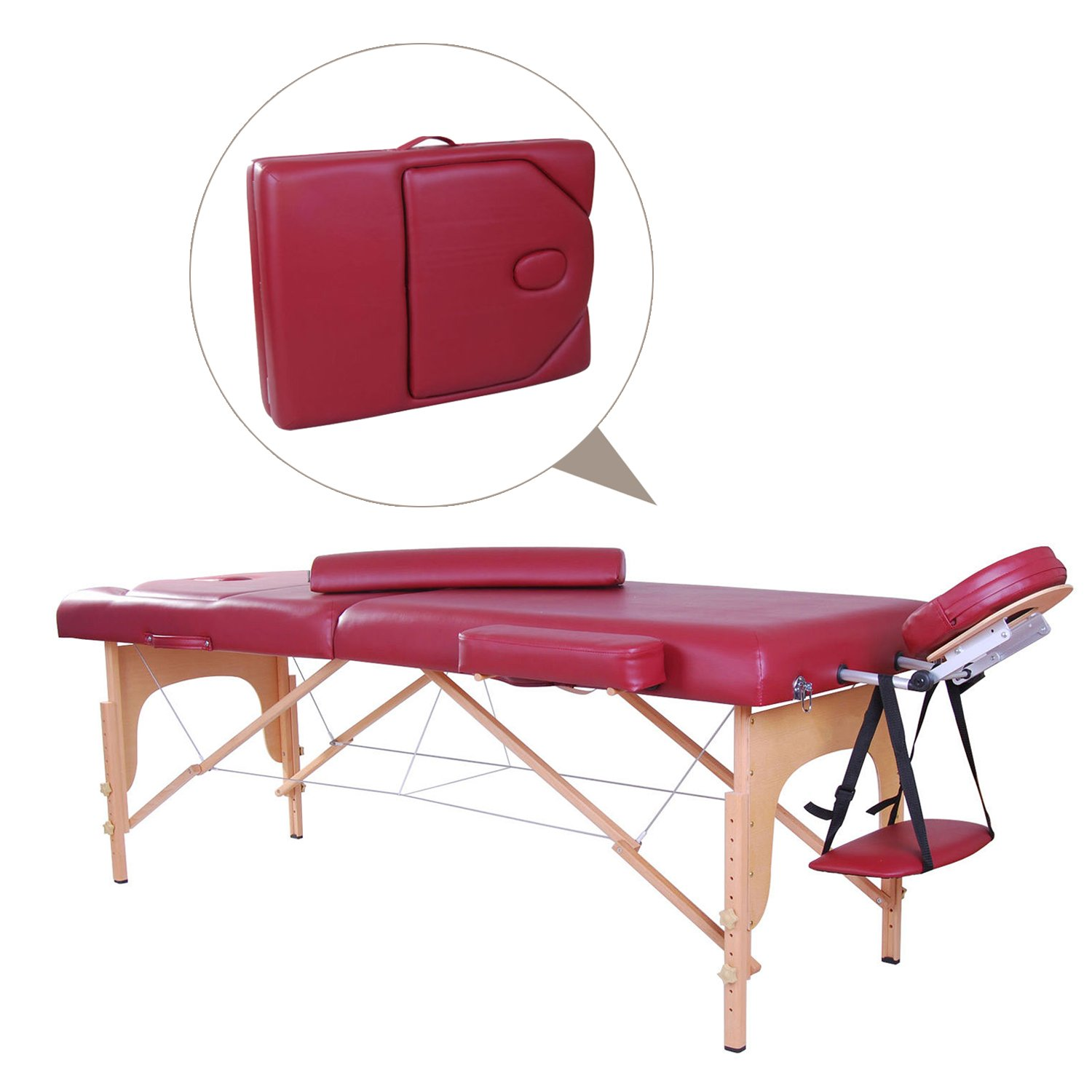 Soozier 91inch Portable Massage Table Couch Spa Bed 3 Fold 3inch Thick Padding (Rose) + Carrying Bag Aosom Canada