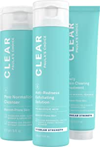 Paula's Choice CLEAR Regular Strength Acne Kit | 2% Salicylic Acid & 2.5% Benzoyl Peroxide for Facial Acne & Pores | Redness Relief | PACKAGING MAY VARY