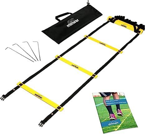 Escalera de coordinación de 6m con bolsa y clavijas | Escalera de velocidad | Escalera de velocidad para fútbol, fitness, deportes, balonmano | + eBook gratis: Amazon.es: Deportes y aire libre
