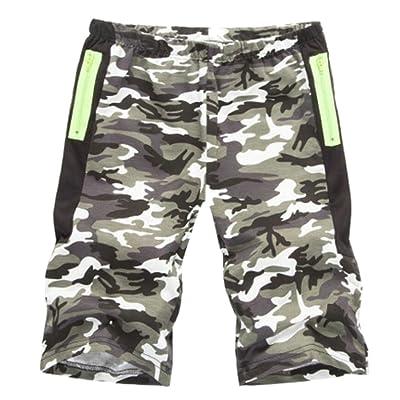 d42fbb89afb Domple Men Casual Elastic Waist Camo Print Flat-Front Beach Shorts Pants