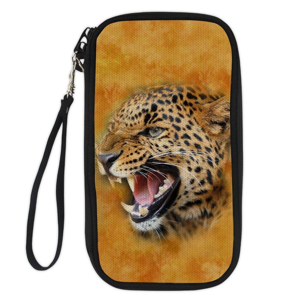 Bigcardesigns Passport Holder Travel Wallet Wrist Strap Tiger Print