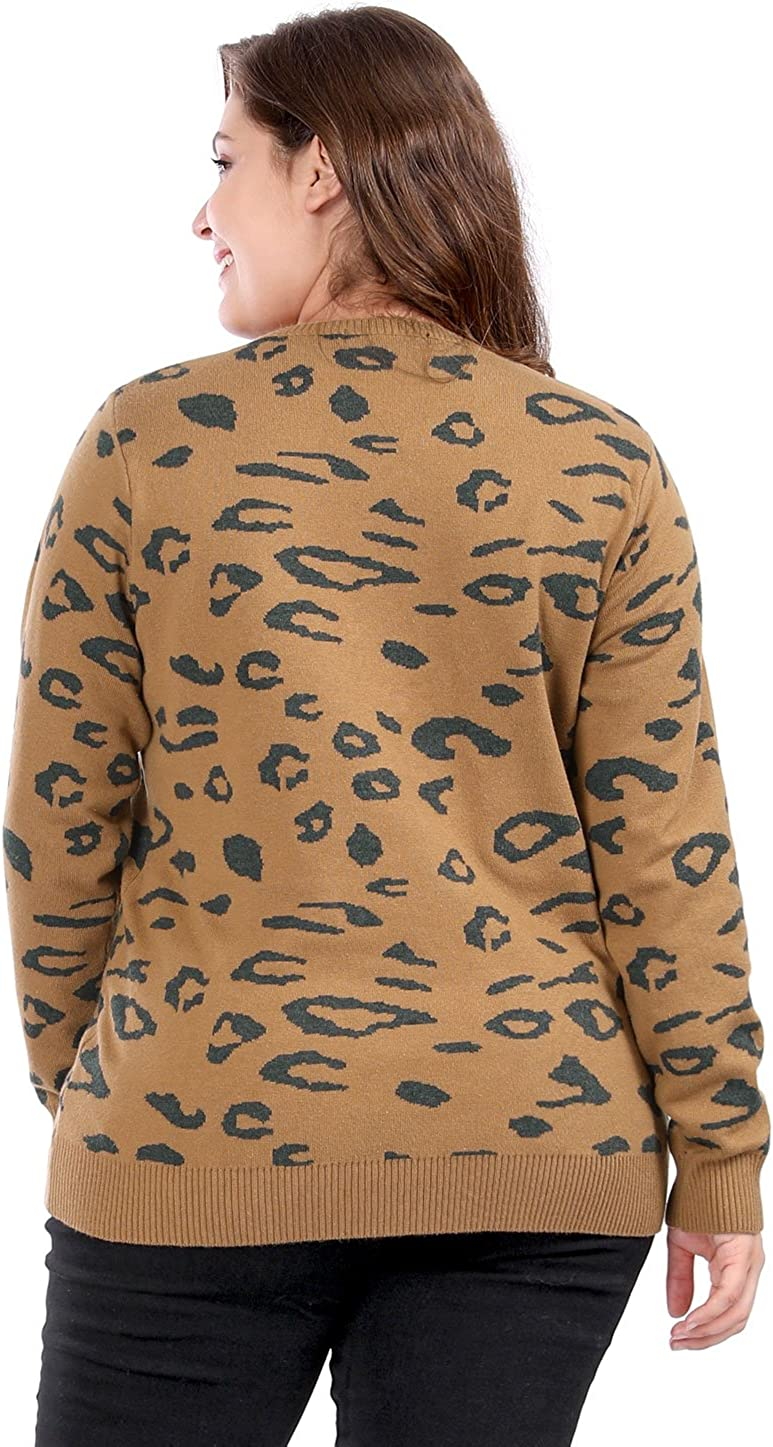 Agnes Orinda Womens Plus Size Crew Neck Long Sleeve Leopard Sweater