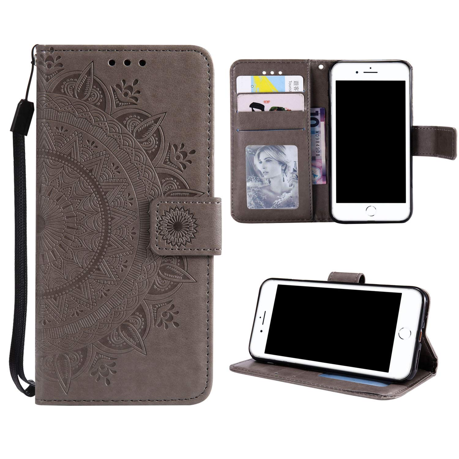 Case for iPhone 6S PU Leather Flip Wallet Cover, Mistars Tribal Mandala Flower Pattern Embossed Full Body Protection Cove with Card Holder Kickstand Magnetic Closure Shell Inner Soft TPU Silicone Bumper for Apple iPhone 6 / 6S (4.7 inch) - Grey