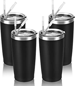 4 Pack Travel Tumblers with 8 Lids, Stainless Steel Double Wall Vacuum Travel Tumbler for Home School Office Camping, Insulated Travel Tumbler Works Good for Ice Drink, Hot Beverage(20 oz, Black)