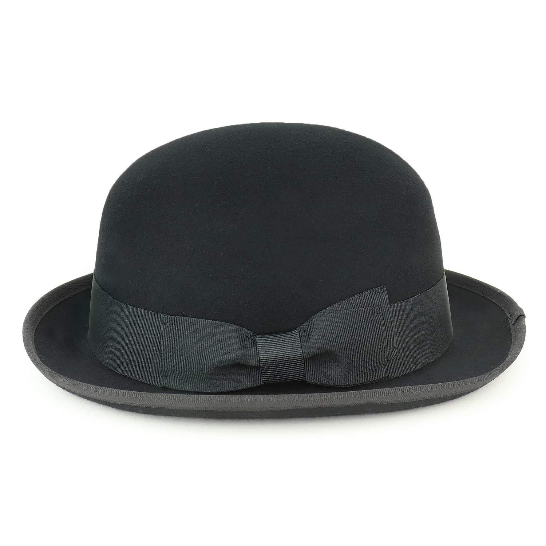 Armycrew Mens 100/% Wool Felt Bowler Hat with Grosgrain Ribbon Band