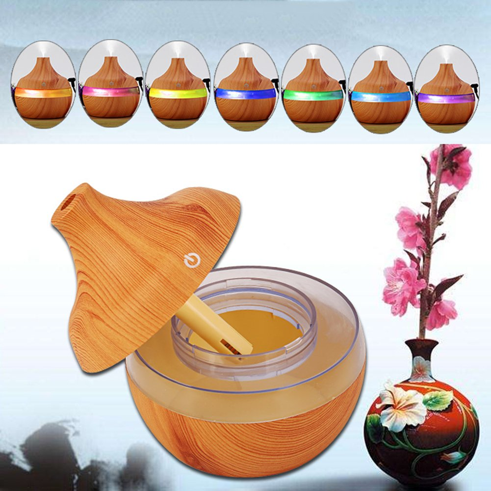 yanQxIzbiu Essential Oil Diffuser Wood Grain USB 300ml Humidifier Aroma Diffuser Mist Maker Colorful LED Light - Wood Grain for Bedroom Living Room Study Yoga Spa by yanQxIzbiu (Image #2)