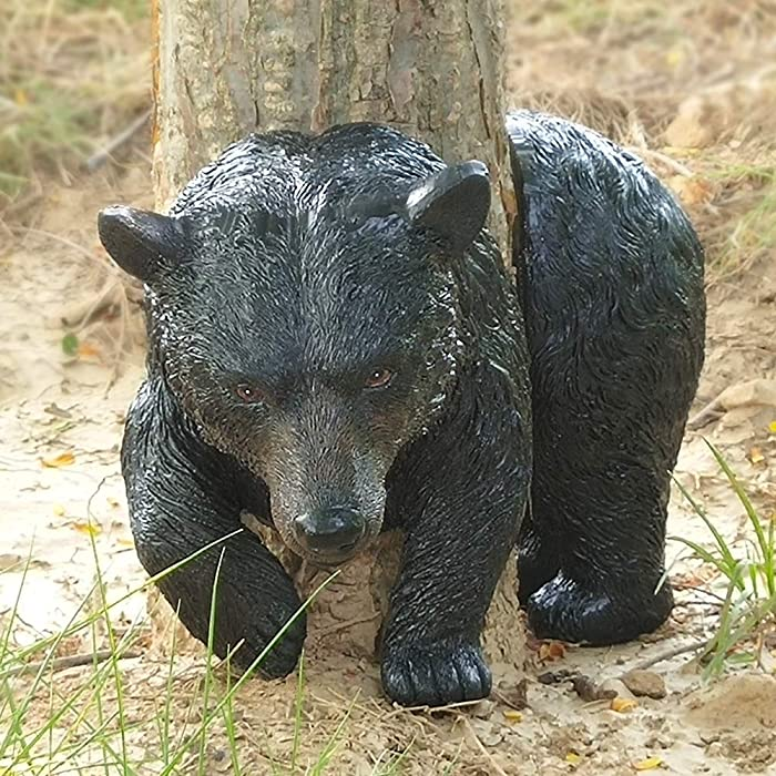 Claratut Small Black Bear Tree Huggers Sculpture Garden Decor-Bear Tree Peeker Face Garden Ornament Outdoor Decor