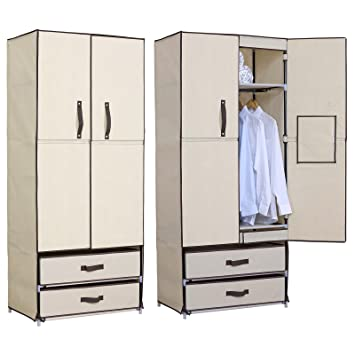 WOLTU Closet Shelving Clothes Closet Wardrobe Storage Cabinet With 2 Drawer  Cloth Organizer With Magnet Doors