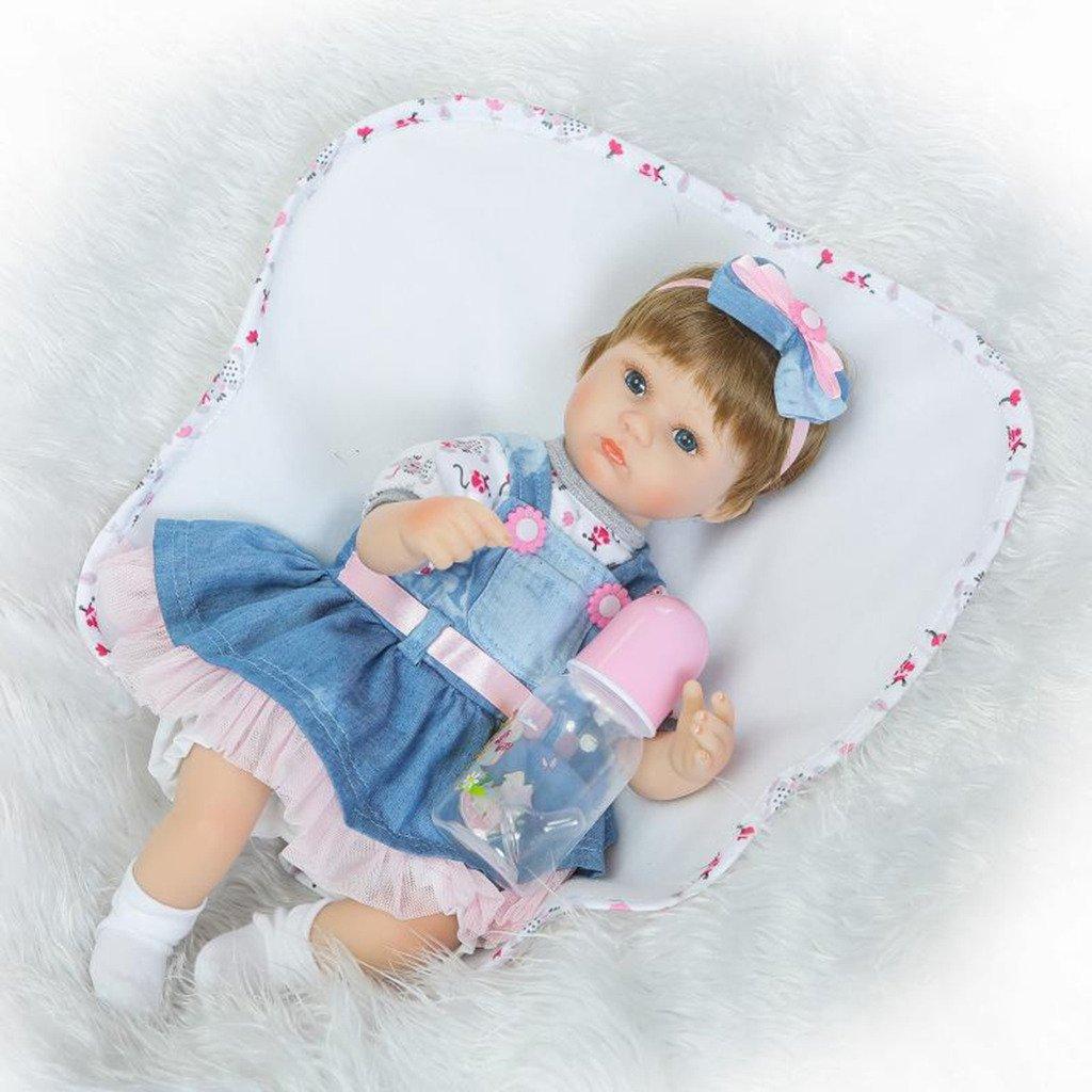 NPKDOLL Reborn bebé muñeca suave Simulación Silicona Vinilo 16 (38 – 42 cm) realista Cute Girl con falda ojos abiertos azul Mohair manta magnético chupete cómodo Touch seguro ambiental materiales niños amigo