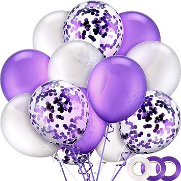 50 Piezas 12 Pulgadas de Globos de Látex Globos de Confeti con 3 Rollos de Cinta para Materiales de Fiesta de Boda Cumpleaños (Blanco, Morado)