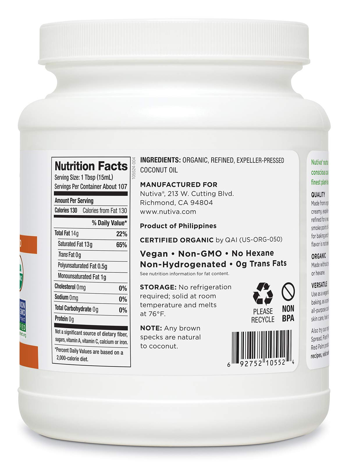 Nutiva Organic, Neutral Tasting, Steam Refined Coconut Oil from non-GMO, Sustainably Farmed Coconuts, 54 Fluid Ounce,Pack of 1