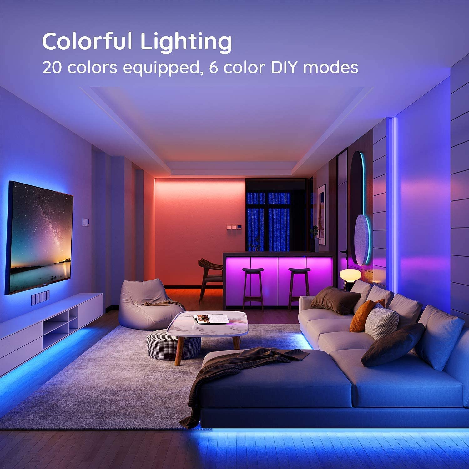 Govee LED Strip Lights, 16.4FT RGB LED Lights with Remote Control, 20 Colors and DIY Mode Color Changing LED Lights, Easy Installation Light Strip for Bedroom, Ceiling, Kitchen