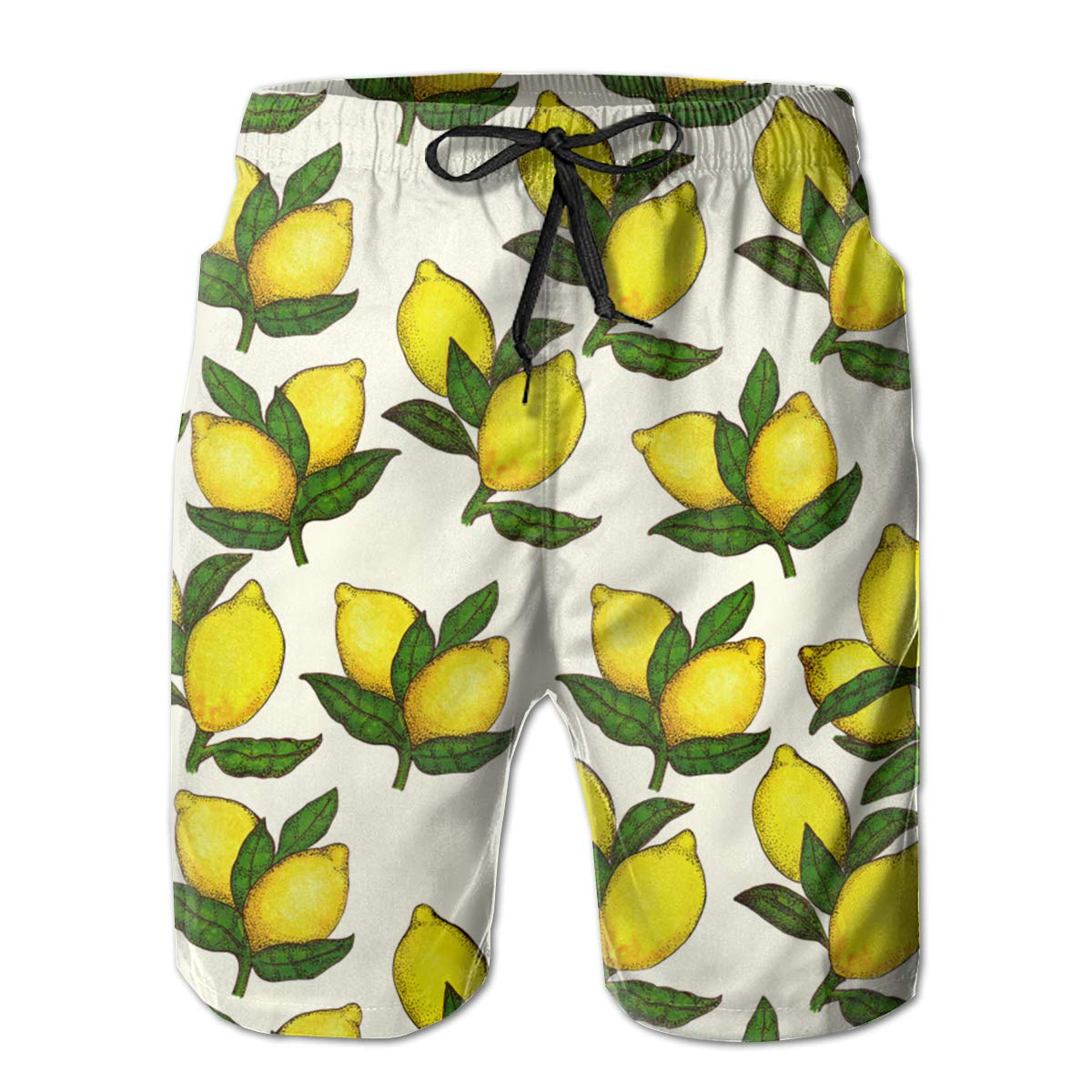 MikonsuCute Pair of Lemon Mens Colorful Swim Trunks Beach Board Shorts with Lining