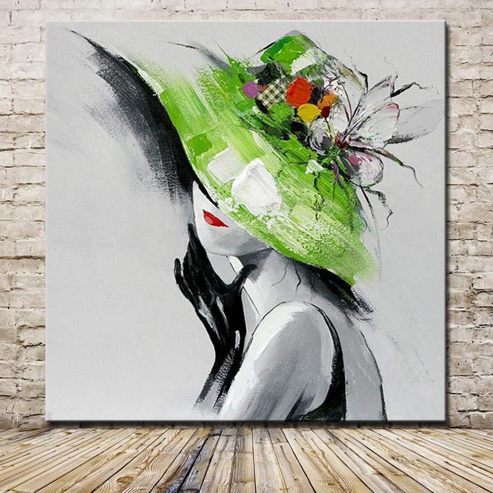 XIAOXINYUAN 100% Handgemalt Öl Malerei Abstrakte Grüne Kappe Frauen Rote Lippen Moderne Kunst Wand Bild Für Wohnzimmer Home Decor 50 × 50 cm