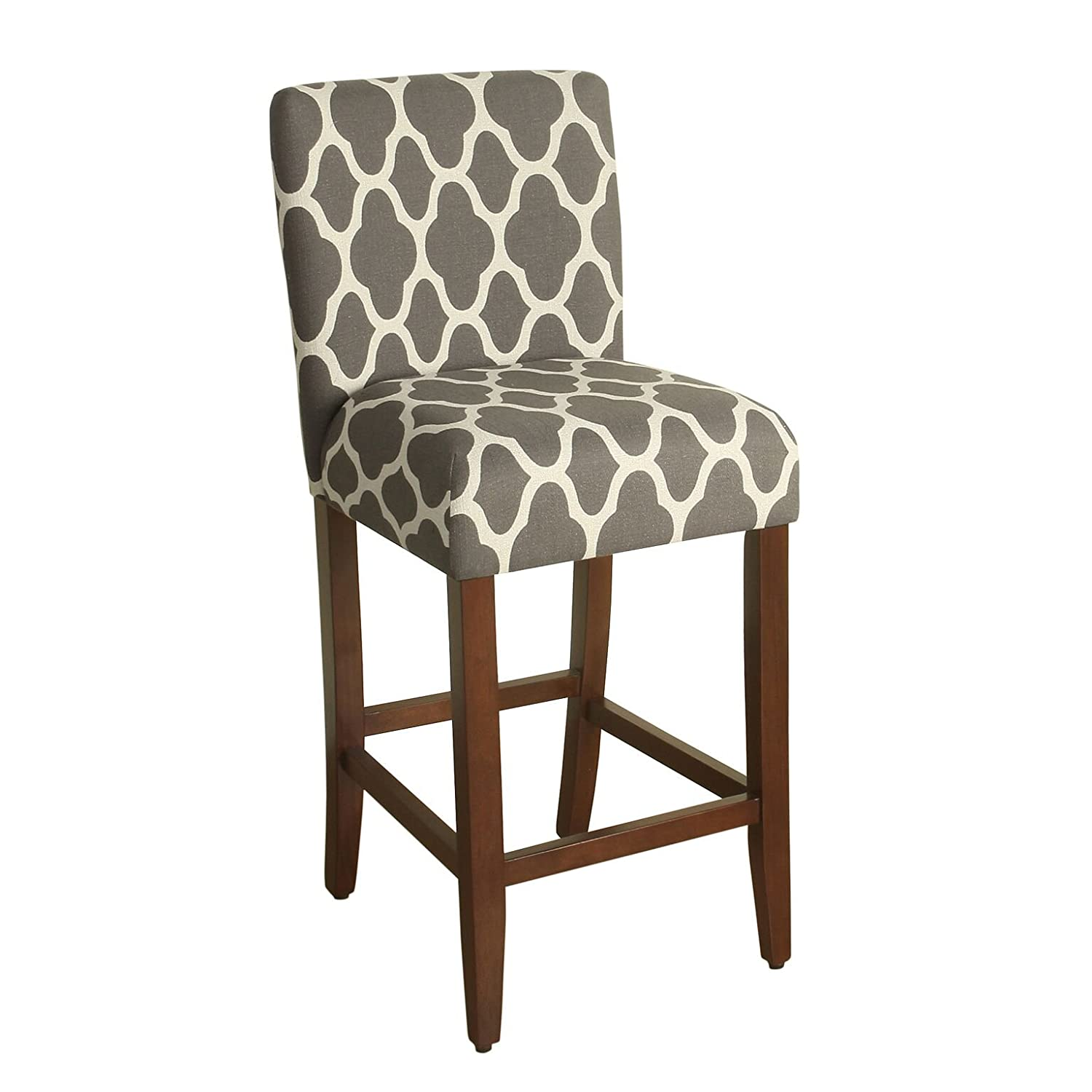 HomePop Upholstered Counter Height Barstool, 29-inch, Grey and Cream Geometric