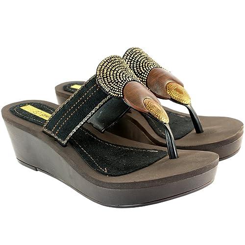 26b34087126 Womens Grendha Bangles Wedge Heel Sandals - Black - 11  Amazon.ca ...