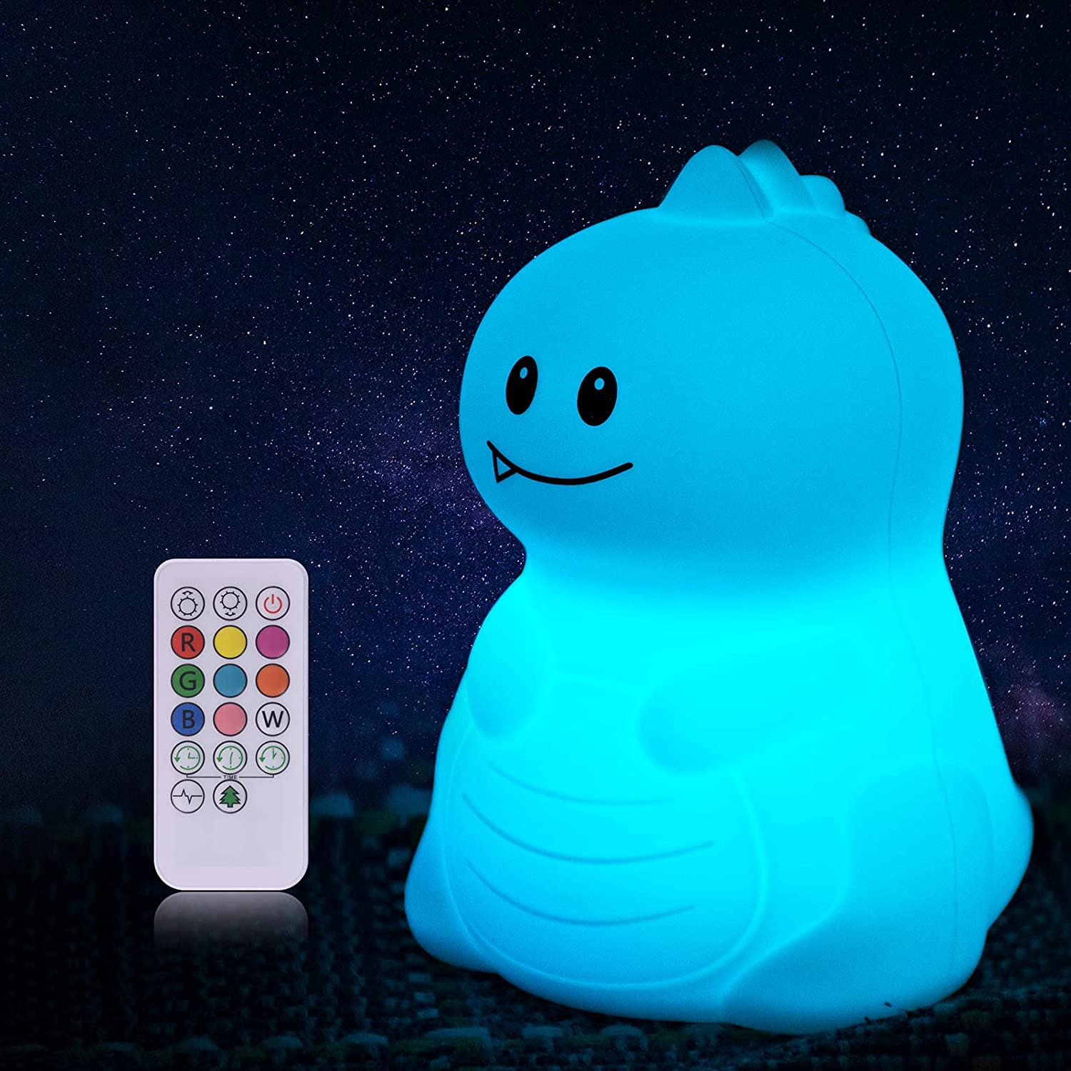 Dinosaur Night Light, Kids Portable Color Changing Battery Rechargeable Silicone Kawaii Cute Nursery Lamp for Baby Children Toddler Teenage Girl Birthday Gift Bedroom Decor with Touch/Remote Control