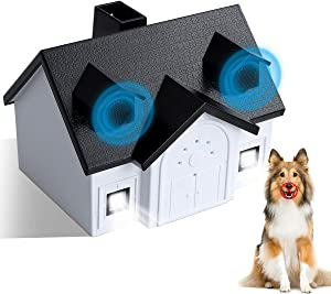 NAVOROGE Ultrasonic Anti Barking Device, Adjustable Sonic Bark Deterrents with Double Sonic Heads,Bird Box Anti Barking Device Pet Trainer with LED Lights Safe for Small Medium Large Dogs,Waterproof