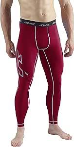 Sub Sports Dual legdual-Scarlet-Large Mens Compression Leggings, Maroon, Lg