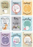 Baby Milestone Cards UK - 40 Unisex Designed Photo Cards Including Pregnancy and Key Age Markers. Great Baby Shower Gift