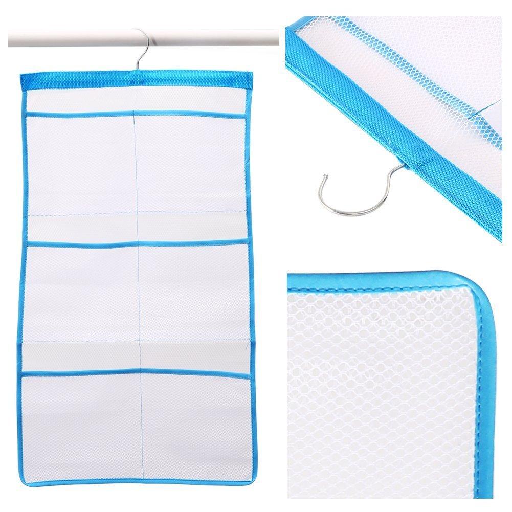 Adeeing Fast Dry Hanging Mesh Bath Shower Caddies Shower Organizer With 6 Clear Storage Dispenser Pockets Bathroom Holder Blue