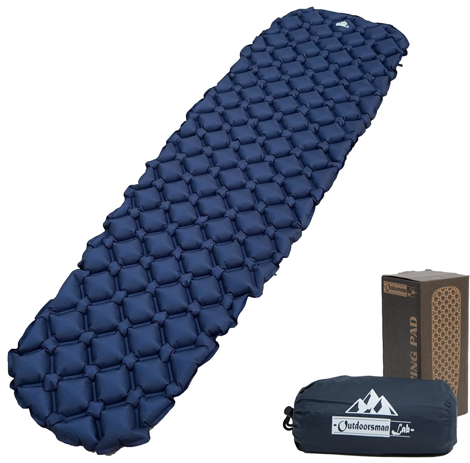 OutdoorsmanLab Ultralight Sleeping Pad スリーピングパッド - Ultra-Compact for Backpacking, Camping, Travel w/Super Comfortable Air-Support Cells Design (並行輸入品) B07C48GXK7 Blue One Size One Size|Blue