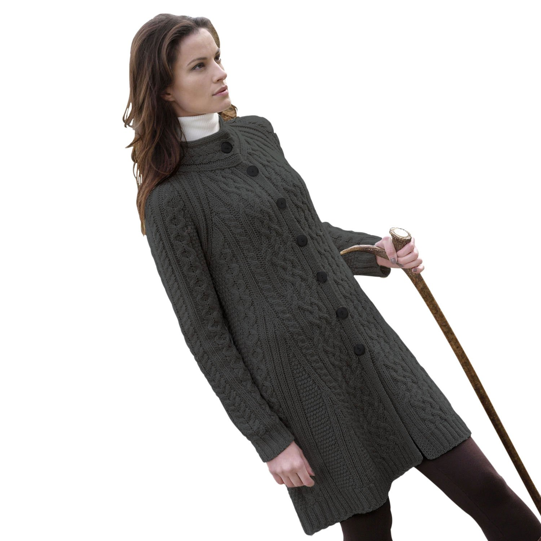 100% Irish Merino Wool Ladies Aran Knit Flared Coat by West End ...