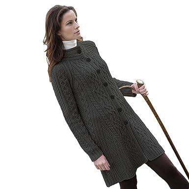 4927d00fd84 West End 100 % Irish Merino Wool Ladies 3 Button Aran Coat Knitwear ...