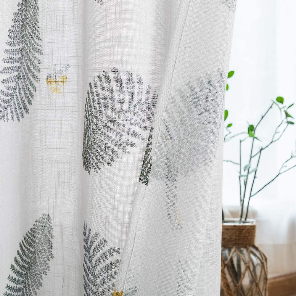KGORGE Semi-Sheer Curtain 84-inch Long, Sunlight Filtering Linen Textured Draperies Grommet Top Farmhouse Voile Treatment Set for Living Room, 52 Wide x 84 Long, 2 Pieces, Grey