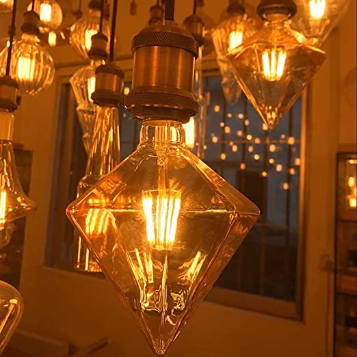 Bombilla LED E27 4W Vintage Retro Edison Bombilla Warm White Light Decoration Bombilla Retro Diamond Lamp