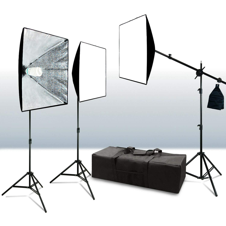 oldzon xz-12 Studio Light Photo Lighting Kit w/Stands Carry Bag Soft Box Boom Stand with Ebook by oldzon