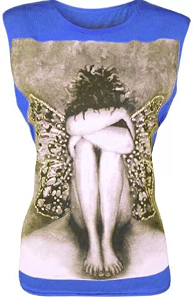 janisramone Frauen-T-Shirt, Engel-Schmetterling, Ärmelloses Damen-