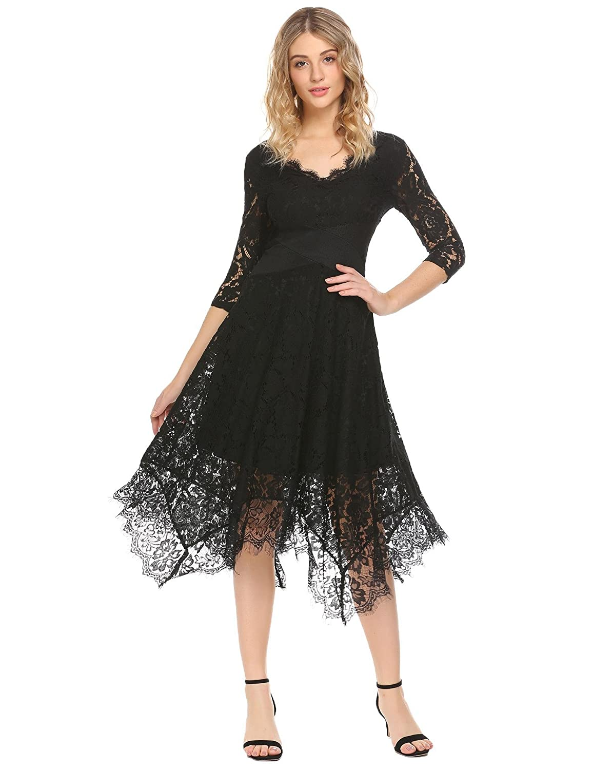ACEVOG Women's Summer Half Sleeve Sheer Lace V Neck X Waist Irregular Hem Cocktail Party Dress