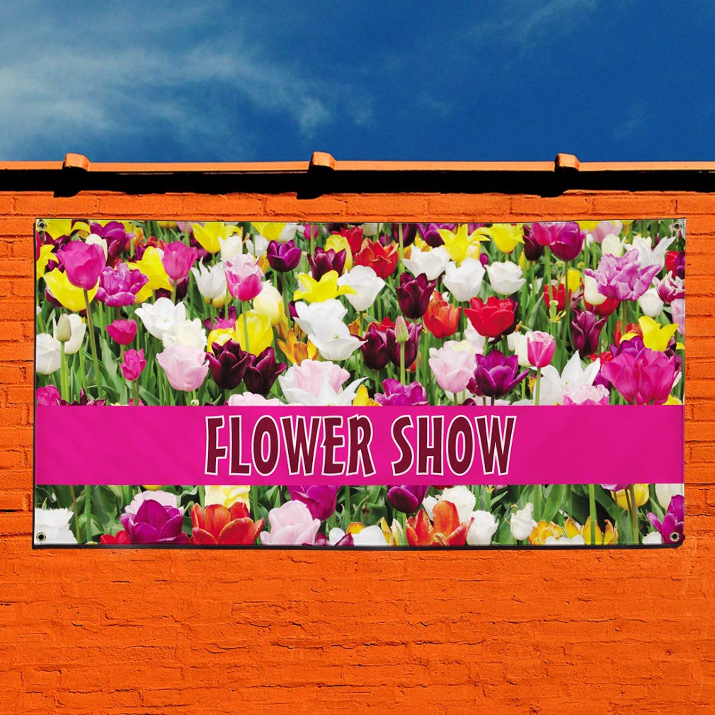 Vinyl Banner Sign Flower Show Business Outdoor Marketing Advertising Lavender Multiple Sizes Available 28inx70in 4 Grommets Set of 2