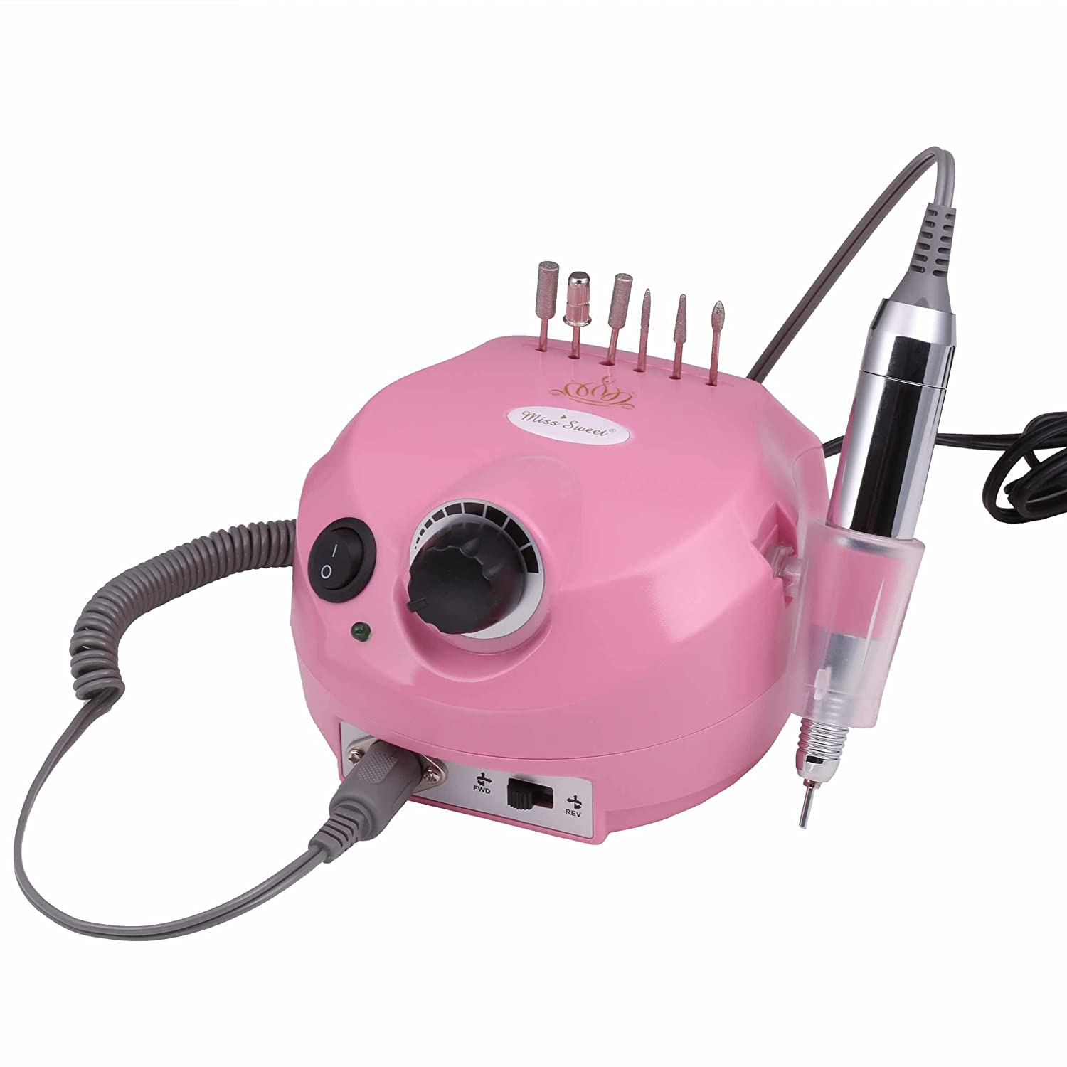 Miss Sweet Professional Electric Nail Drill for Acrylic Nails 30000RPM (Pink)