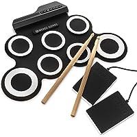 Nouveaux Kits de batterie électronique 7Pad Roll Up tambour Portable Pliable musical Practise Instrument- 5Tons Prédéfinis, 8Demo chansons et Rythmes de 3–2baguettes inclus